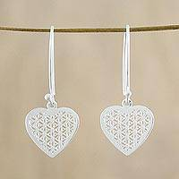 Sterling silver dangle earrings, 'Fractal Heart' - Sterling Silver Fractal Heart Dangle Earrings from Thailand