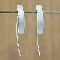 Sterling silver drop earrings, 'Modern Flair' - Sterling Silver Rectangular Drop Earrings from Thailand