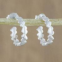 Sterling silver dangle earrings, 'Heart Reflection' - Sterling Silver Heart Half-Hoop Earrings from Thailand