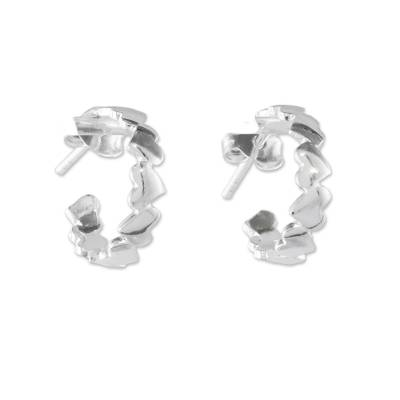 Sterling Silver Heart Half-Hoop Earrings from Thailand