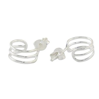 Sterling Silver Openwork Half-Hoop Earrings from Thailand