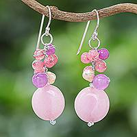 Cultured pearl and quartz cluster earrings, 'Sweet Thai Joy' - Handmade Purple and Pink Quartz and Pearl Cluster Earrings