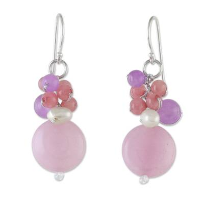 Handmade Purple and Pink Quartz and Pearl Cluster Earrings
