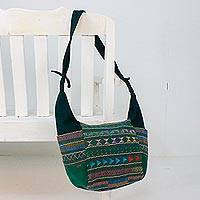 Cotton hobo bag, 'Moss Hill Tribe Carnival' - Handwoven Cotton Hill Tribe Hobo Bag in Moss from Thailand