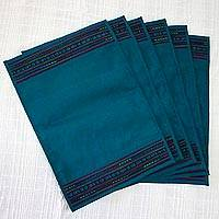 Handwoven placemats, 'Dining Hill Tribe in Teal' (set of 6) - Six Handwoven Hill Tribe Placemats in Teal from Thailand