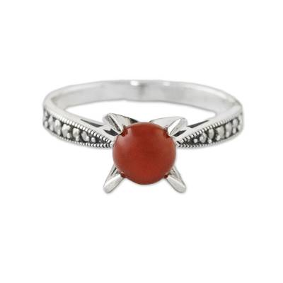 Marcasite-Paved Carnelian Cocktail Ring from Thailand