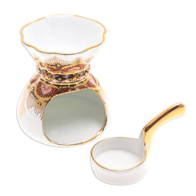 Benjarong Porcelain Oil Warmer Handmade in Thailand