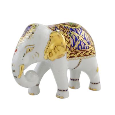 Benjarong Porcelain Figurine, U0027Brilliant Elephantu0027   Benjarong Porcelain  Elephant Figurine With Real Gold