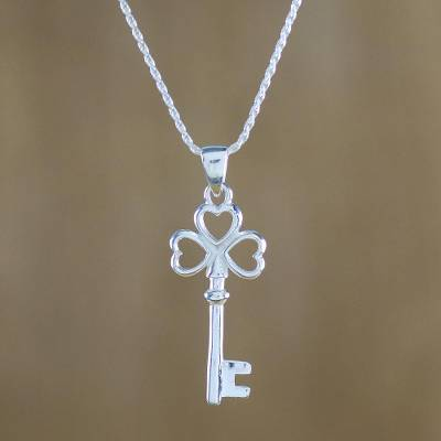 Sterling silver pendant necklace, 'Heart Key' - Sterling Silver Key Pendant Necklace from Thailand