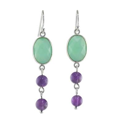 Chalcedony and Amethyst Dangle Earrings from Thailand