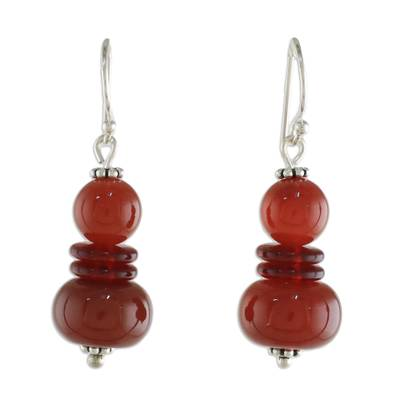 Carnelian Beaded Dangle Earrings from Thailand