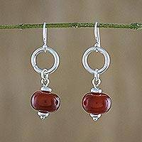 Carnelian dangle earrings, 'Dreamy Night' - Carnelian and Sterling Silver Dangle Earrings form Thailand