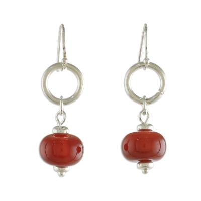 Carnelian and Sterling Silver Dangle Earrings form Thailand