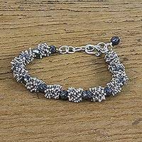 Hematite and silver beaded bracelet, 'Karen Texture' - 950 Karen Silver and Hematite Beaded Bracelet from Thailand