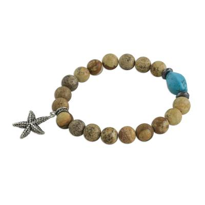 Jasper and Calcite Starfish Beaded Bracelet from Thailand