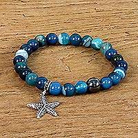Agate beaded charm bracelet, 'Homeward Starfish' - Blue Agate and 925 Silver Starfish Bracelet from Thailand