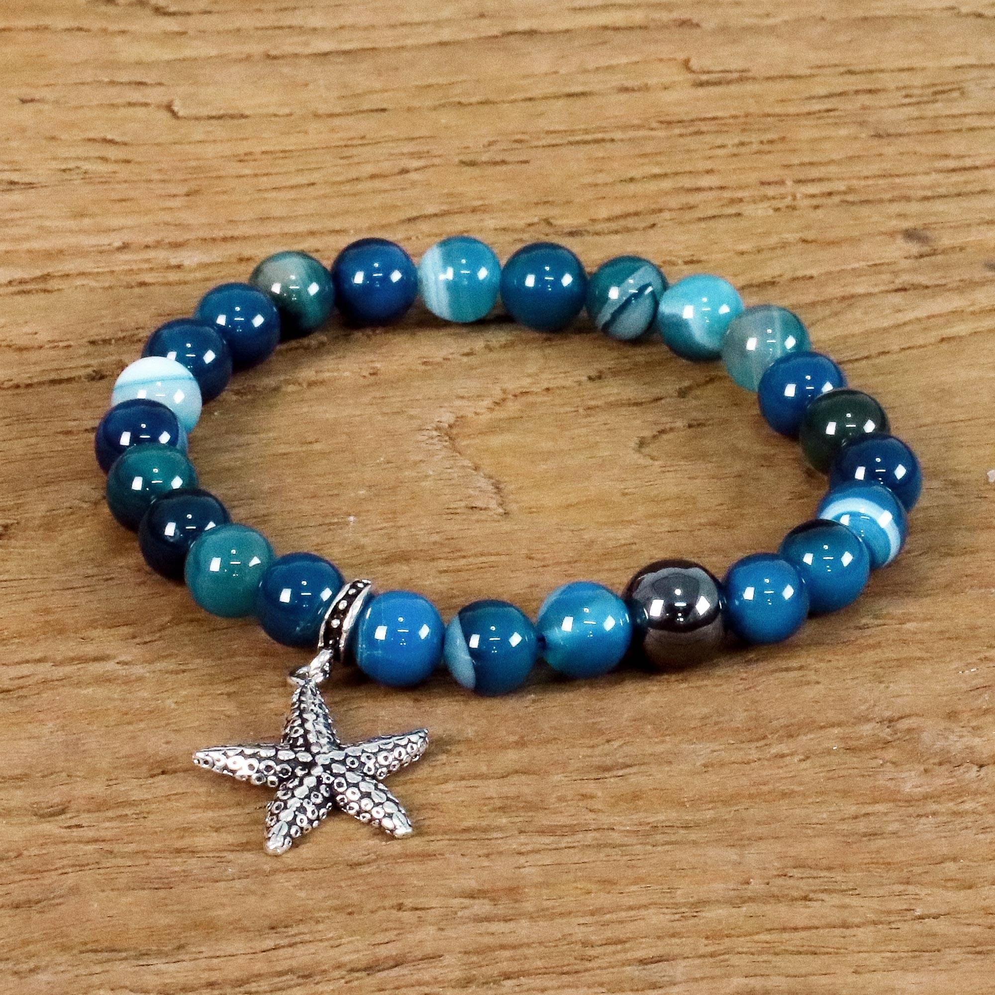 Blue Agate And 925 Silver Starfish