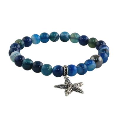 Blue Agate and 925 Silver Starfish Bracelet from Thailand