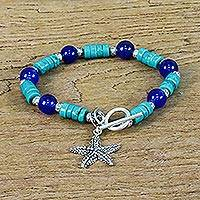 Quartz and calcite beaded charm bracelet, 'Starfish Ocean' - Quartz Silver and Onyx Starfish Bracelet from Thailand