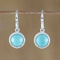 Turquoise dangle earrings, 'Windows to the Sky' - Circular Turquoise and Silver Dangle Earrings from Thailand