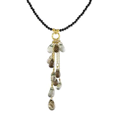 Multi-gemstone pendant necklace, 'Beautiful Cavern' - Multi-Gemstone Beaded Pendant Necklace from Thailand