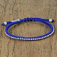 Silver beaded wristband bracelet, 'Cool Lotus' - Karen Silver Blue Wristband Bracelet from Thailand