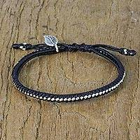 Silver beaded wristband bracelet, 'Cool Leaf' - Karen Silver Black Wristband Bracelet from Thailand