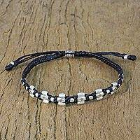 Silver beaded bracelet, 'Simply Exotic' - Adjustable Karen Silver Beaded Bracelet from Thailand