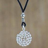 Silver pendant necklace, 'Beauty Inside' - Karen Silver Spiral Pendant Necklace from Thailand