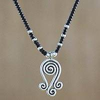 Silver pendant necklace, 'Shining Locks' - Karen Silver Spiral Motif Pendant Necklace from Thailand