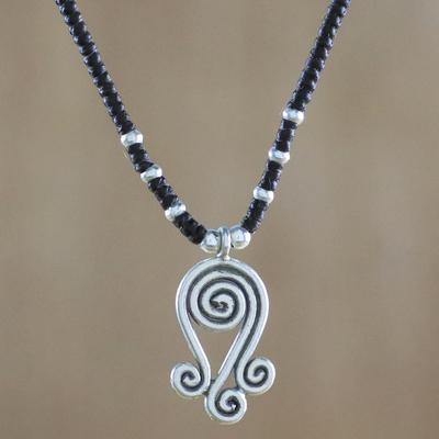 Novica Silver pendant necklace, Hill Tribe Swirl