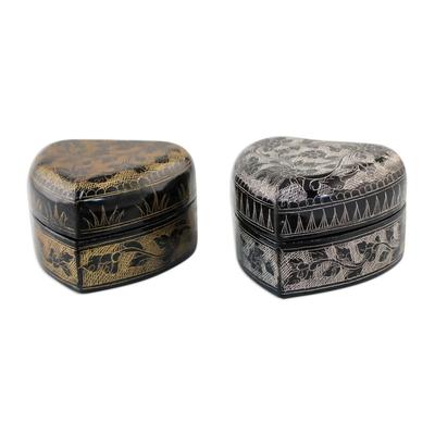 Decorative Heart Shaped Lacquerware Boxes (Pair)
