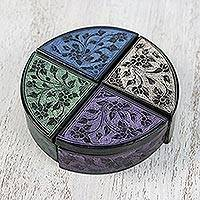 Decorative wood boxes, 'Floral Quarters' (set of 4) - Hand Painted Lacquerware Quarter-Round Boxes (Set of 4)