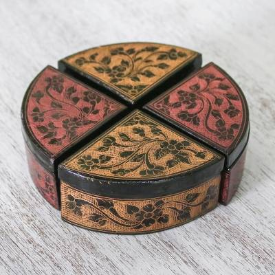Wood decorative boxes, 'Floral Fourths' (set of 4) - Four Complementary Floral Decorative Boxes from Thailand