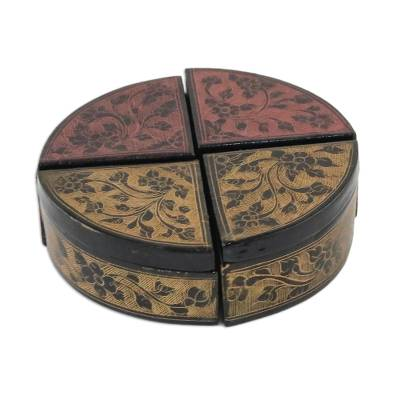 Four Complementary Floral Decorative Boxes from Thailand