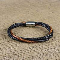 Leather wristband bracelet, 'Harmonious Braid' - Black and Brown Leather Wristband Bracelet from Thailand