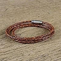 Leather wrap bracelet, 'Brown Charm' (23 inch) - 23 Inch Braided Brown Leather Wrap Bracelet from Thailand