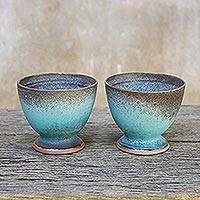 Ceramic teacups, 'Serene Seas' (pair) - Turquoise and Brown Footed Ceramic Teacups (Pair)