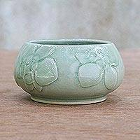 Celadon ceramic bowl, 'Orchid Rapture' - Small Celadon Ceramic Bowl with Orchid Relief