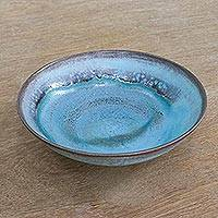 Ceramic serving bowl, 'Lagoon' - Hand Crafted Blue and Brown Ceramic Bowl