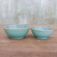 Ceramic bowls, 'Serene Skies' (pair) - Pale Blue Crackled Glaze Bowls from Thailand (Pair)