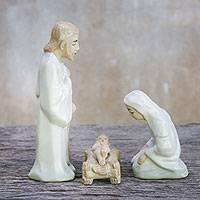 Celadon ceramic nativity scene, 'Cozy Celebration' (set of 3) - 3 Piece Nativity Scene Mary Joseph and Jesus from Thailand
