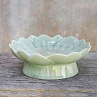 Celadon ceramic catchall, 'Blooming Lotus' - Pale Green Celadon Ceramic Lotus Flower Catchall