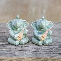 Ceramic figurines, 'Elephant Guitarists' (pair) - Pair of Ceramic Celadon Elephant Figurines from Thailand