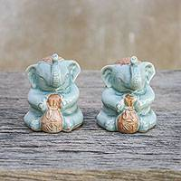 Ceramic figurines, 'Wealthy Elephants' (pair) - Pair of Celadon Ceramic Elephant Figurines from Thailand
