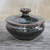 Ceramic sugar bowl, 'Hearty Meal' - Black and Brown Ceramic Sugar Bowl with Lid from Thailand