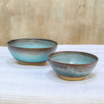 Ceramic bowls, 'Vintage Delicious' (pair) - Pair of Glazed Handmade Blue Ceramic Bowls from Thailand