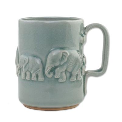 Artisan Handmade Celadon Ceramic Elephant Mug from Thailand