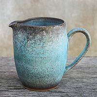 Ceramic cream pitcher, 'Vintage Refreshment' - Artisan Handmade Blue Ceramic Cream Pitcher from Thailand