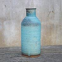 Ceramic vase, 'Blue Memories' - Handmade Blue and Brown Ceramic Vase